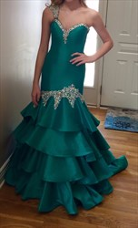 Green Beaded One Shoulder Drop Waist Floor Length Mermaid Prom Dress