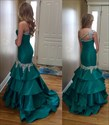 Show details for Green Beaded One Shoulder Drop Waist Floor Length Mermaid Prom Dress