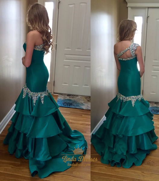 Green Beaded One Shoulder Drop Waist Floor Length Mermaid Prom Dress