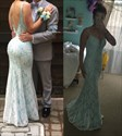 Light Blue V-Neck Sleeveless Lace Mermaid Prom Dress With Open Back