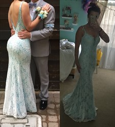 Light Blue V-Neck Sleeveless Lace Mermaid Prom Dress With Open Back