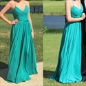 Show details for Spaghetti Strap Halter V-Neck A-Line Ruched Bodice Chiffon Prom Dress