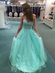 Elegant Light Blue A-Line Strapless Embellished Bodice Tulle Ball Gown