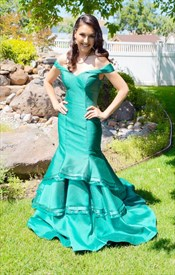 Simple Turquoise Off The Shoulder Floor Length Mermaid Satin Prom Gown