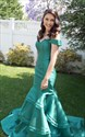 Show details for Simple Turquoise Off The Shoulder Floor Length Mermaid Satin Prom Gown