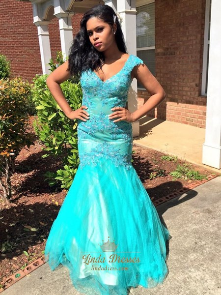 Turquoise Floor Length Cap Sleeve Lace Bodice Tulle Mermaid Prom Dress