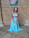 Show details for Light Blue Sleeveless Illusion Lace Bodice Two Piece Chiffon Prom Gown
