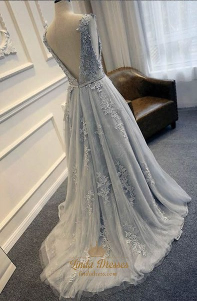 Grey Sleeveless A-Line Lace Embellished Evening Dress With Open Back