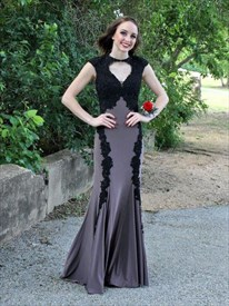 Grey Cap Sleeve Lace Embellished Chiffon Prom Dress With Front Keyhole