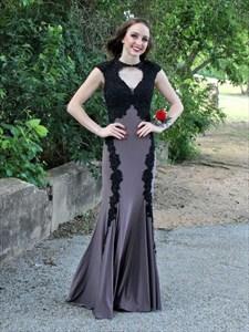 Grey Cap Sleeve Lace Embellished Chiffon Prom Dress With Front Keyhole