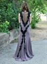 Show details for Grey Cap Sleeve Lace Embellished Chiffon Prom Dress With Front Keyhole