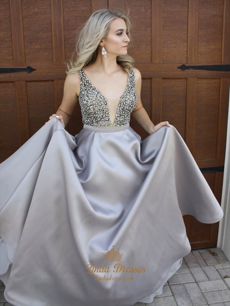 Grey A-Line V-Neck Floor Length Elegant Prom Dress With Beaded Bodice