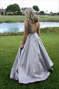 Show details for Grey A-Line V-Neck Floor Length Elegant Prom Dress With Beaded Bodice