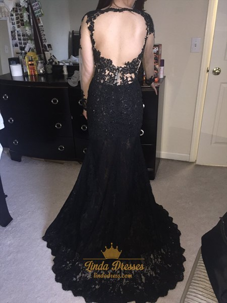 Black Sheer Long Sleeve V-Neck Keyhole Back Lace Prom Dress With Split