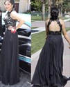 A-Line Sleeveless Two Piece Lace Bodice Chiffon Prom Gown With Keyhole