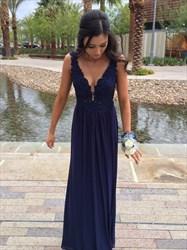 Navy Blue Sleeveless Open Back A-Line Lace Bodice Chiffon Prom Dress