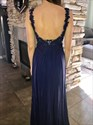 Show details for Navy Blue Sleeveless Open Back A-Line Lace Bodice Chiffon Prom Dress