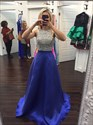 Show details for Elegant Sleeveless Floor Length Beaded Bodice A-Line Satin Prom Dress