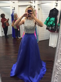 Elegant Sleeveless Floor Length Beaded Bodice A-Line Satin Prom Dress