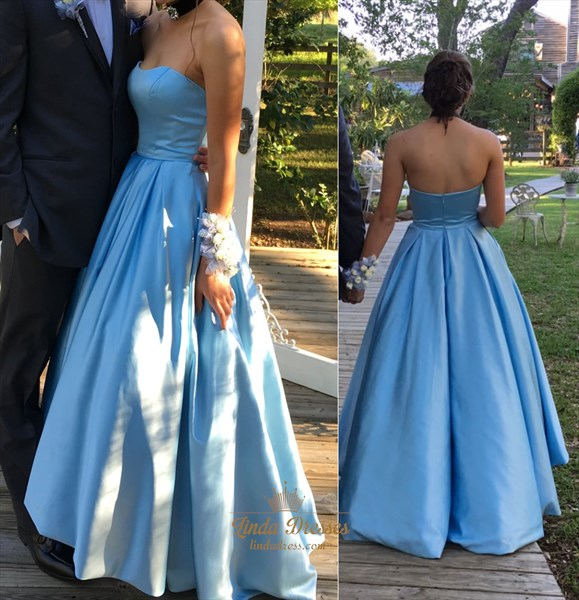 Simple Elegant Sky Blue Strapless Floor Length A-Line Formal Ball Gown