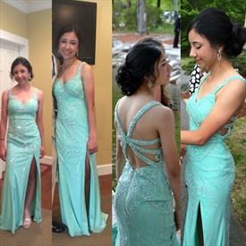 Turquoise Sleeveless Beaded Embellished Chiffon Prom Dress With Split