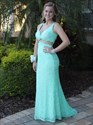 Show details for Floor Length Turquoise Elegant Cut Out Waist Lace Mermaid Prom Dress