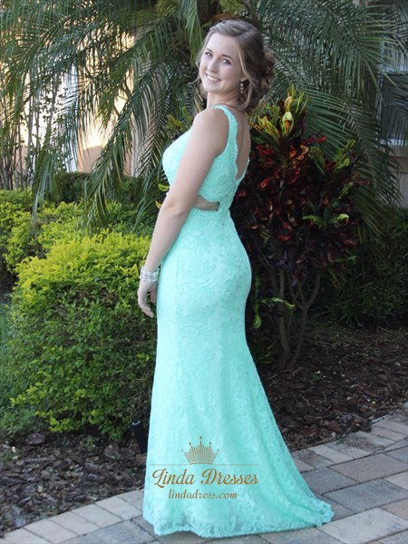 Floor Length Turquoise Elegant Cut Out Waist Lace Mermaid Prom Dress