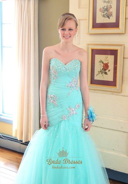 Turquoise Strapless Beaded Embellished Tulle Mermaid Long Prom Dress
