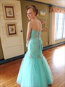 Show details for Turquoise Strapless Beaded Embellished Tulle Mermaid Long Prom Dress