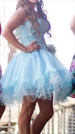 Light Blue Short Strapless Bead Embellished A-Line Homecoming Dress