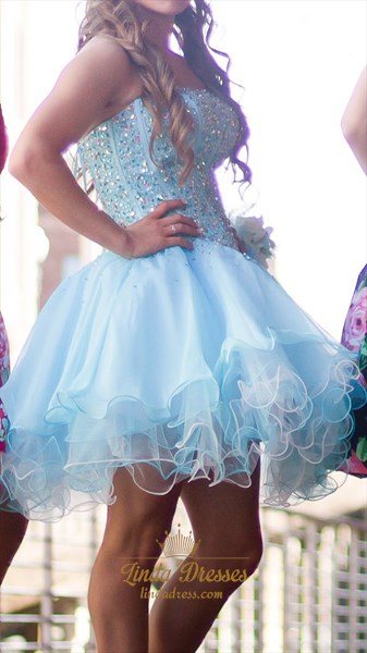 Light Blue Short Strapless Bead Embellished A-Line Homecoming Dress