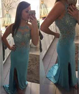 Sky Blue Sleeveless Illusion Lace Bodice Chiffon Prom Dress With Split