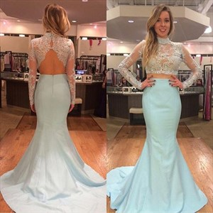 Illusion Two Piece Long Sleeve Lace Bodice Mermaid Floor Length Dress