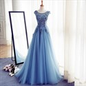 Show details for Sky Blue Cap Sleeve Floor Length Embellished Tulle A-Line Ball Gown