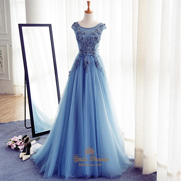 Sky Blue Cap Sleeve Floor Length Embellished Tulle A-Line Ball Gown