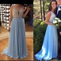 Show details for Light Blue Sleeveless V-Neck Beaded Bodice Chiffon A-Line Prom Dress