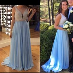 Light Blue Sleeveless V-Neck Beaded Bodice Chiffon A-Line Prom Dress