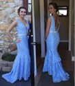 Show details for Lavender Sleeveless Lace Floor Length Mermaid Prom Gown With Open Back