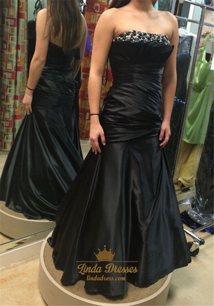 Black Strapless Ruched Bodice Floor Length Prom Dress With Beaded Top