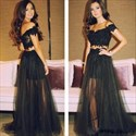 Black Off The Shoulder Two Piece Tulle Overlay Dress With Lace Bodice