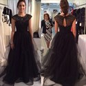 Show details for Illusion Black Cap Sleeve A-Line Tulle Long Prom Dress With Beading