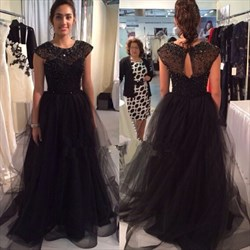 Illusion Black Cap Sleeve A-Line Tulle Long Prom Dress With Beading