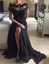 Show details for Black Off The Shoulder A-Line Chiffon Prom Dress With Illusion Bodice
