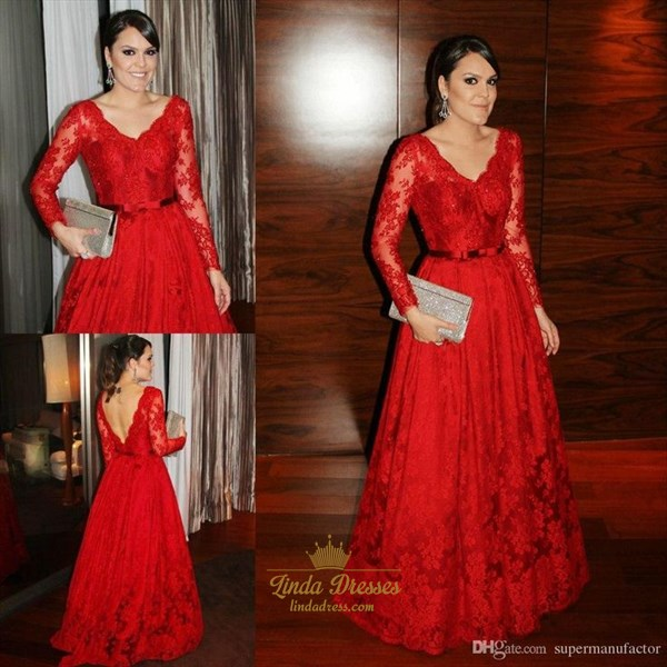 Show details for Elegant Red Long Sleeve Lace Floor Length Backless A-Line Ball Gown