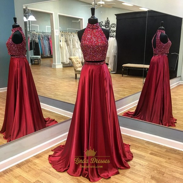 Red Sleeveless High Neck Beaded Two-Piece Ball Gown With Keyhole Back