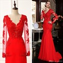 Elegant Red V-Neck Chiffon Mermaid Prom Dress With Sheer Long Sleeves