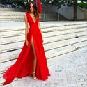 Simple Red Deep V-Neck A-Line Sleeveless Chiffon Prom Dress With Split