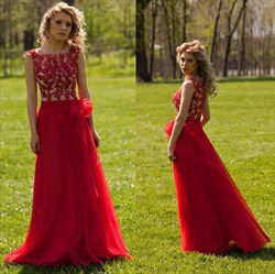 Red Cap Sleeve Applique Embellished Floor Length Chiffon Evening Dress