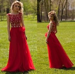 Red Cap Sleeve Applique Embellished Floor Length Chiffon Evening Dress