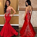 Show details for Floor Length Red Strapless Mermaid Evening Dress With Embellishments